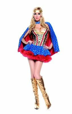 Plus Size Lingerie 1X 2X Super Girl Hero Bustier Dress SEXY Halloween Costume