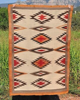 Old Navajo Indian Rug with Serrated Diamond Design