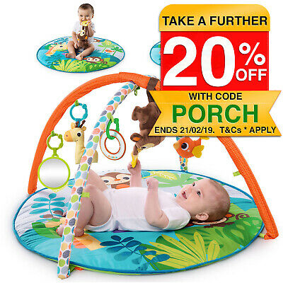 Bright Starts Monkey Activity Gym/Play Mat Baby/Infants w/ Music/Mirror/Toys