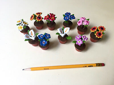Vintage Mexican FOLK ART Pottery! 10 Sweet mini-Floral bouquets in flower pots!