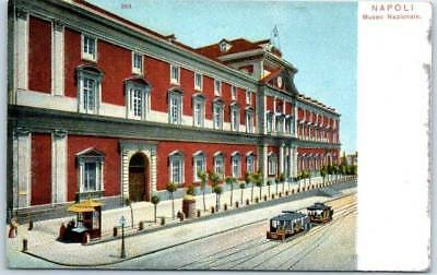 """Naples, Italy Postcard """"NAPOLI - Museo Nazionale"""" Museum Street View c1910s"""