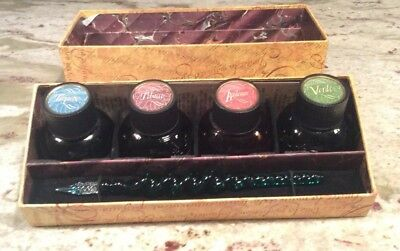 The Writing Collection Set Calligraphy Glass Pen + 4 Bottles Colored Ink