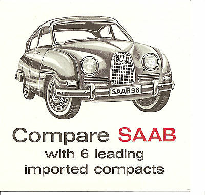 Saab  Folder Compare 96 With 6 Imported Compacts   Circa 1963