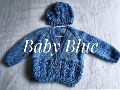Baby set/6-18 Months/Hand Knitted/GIRLS/Beanie/Cardigan (Various Colours)