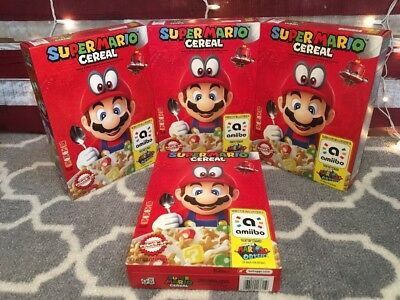 Lot Of 4 Kellogg's Super Mario Cereal, Amiibo, Nintendo Switch 3DS Brand New