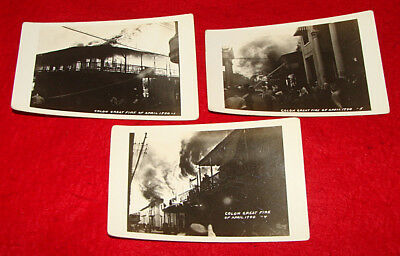 3 1940 RPPC Postcards Colon Great Fire Panama  Vintage Real Photo Disaster Cards