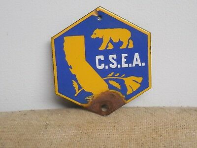 1920's California Porcelain License Plate Topper Sign Radiator Badge CSEA Rare!!