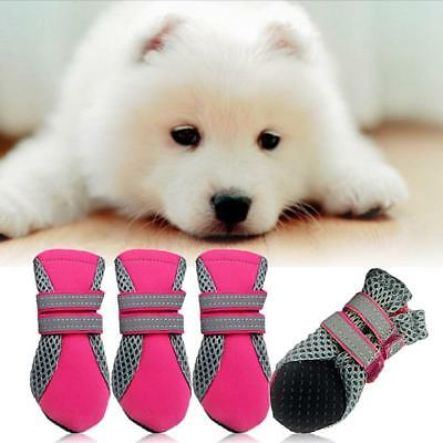 4pcs Waterproof Pet Shoes Rubber Anti-slip Mesh Boots Booties for Small Cats Dog