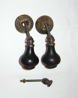 2 Antique Eastlake Victorian Teardrop Drawer Pulls Ebony and Brass - Set 1 of 2