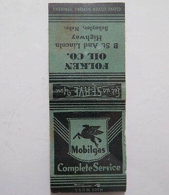 Vintage Matchbook Cover - Mobilgas - Folken Oil - Match Corp of America Chicago