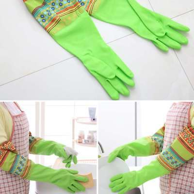 Rubber Latex Dish Washing Cleaning Long Warm Gloves Household Kitchen