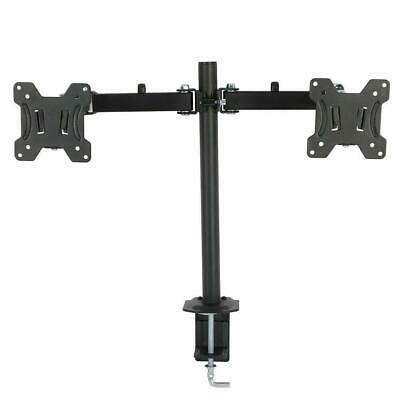 "Steel 360 Degree Monitor Dual Arm Desk Table Mount Stand for 2 LCD Flat 13""- 27"""