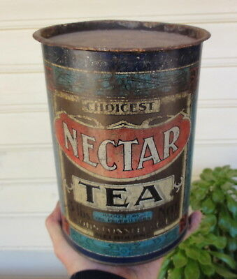 "RARE 9"" HIGH 3lb NECTAR TEA TIN from CONNELL from MELBOURNE. By PICKEN & MARSH"