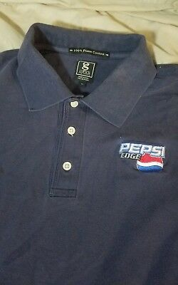PEPSI EDGE Soft Drink Cola Vintage 2004 Embroidered Blue Golf Polo Shirt XL