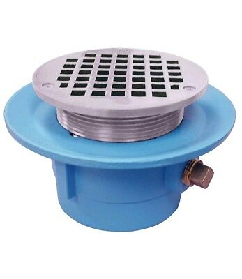 "3"" No Hub Code Blue Slab Drain with 7"" Pan and 5"" Chrome Plated Round Strainer -"