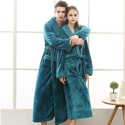 Mens Womens Supersoft Luxurious Bathrobe Coral Fleece Bath Robe Dressing Gown AU