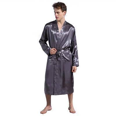 Men's Satin Silk Bathrobe Robe Gown Lingerie Pajamas Nightwear Kimono Pyjamas