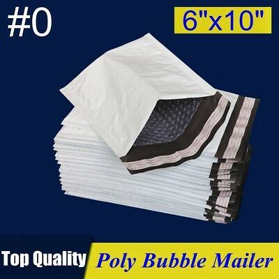 """#0 6x10 Poly Bubble Mailer Padded Envelope Shipping Bag 6""""x10"""" 25,30,50,100,250P"""