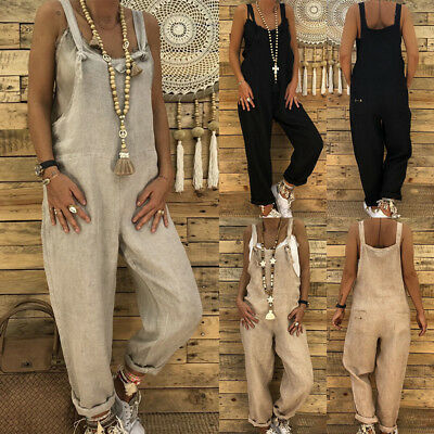 AU Womens Casual Baggy Loose Harem Jumpsuit Dungarees Playsuit Trousers Overalls