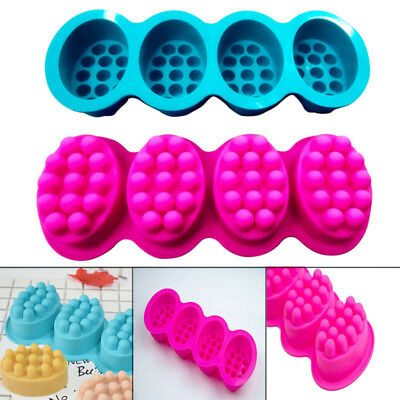 4 Cavities Silicone Soap Mold Ellipse Massage Brush Shape Aromatherapy Wax Mould