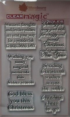 Woodware Clear Acrylic Stamp Set CHRISTMAS CHEER SENTIMENTS festive wishes