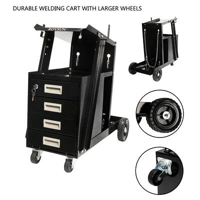 Heavy Duty Universal Welding Cart with 4 Drawer Tool Tank Storage & Side Hook