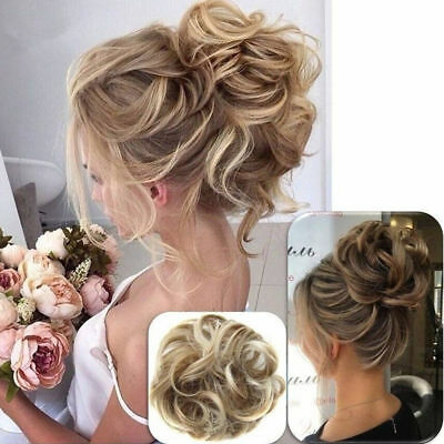 Curly Messy Bun Hair Piece Scrunchie Updo Cover Hair Extensions Real as human CA