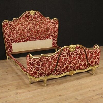 Double bed venetian furniture camera wood lacquered golden antique style 900