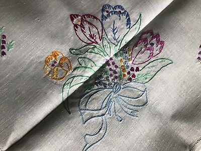 Pretty Vintage Floral Hand Embroidered Small Square White Irish Linen Tablecloth