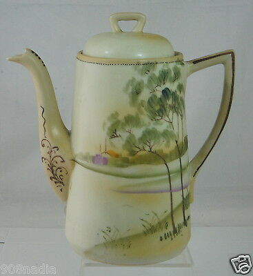 Vintage Nippon Porcelain Tea/coffee Pot Hand Painted Scenic Pale Green/yellow