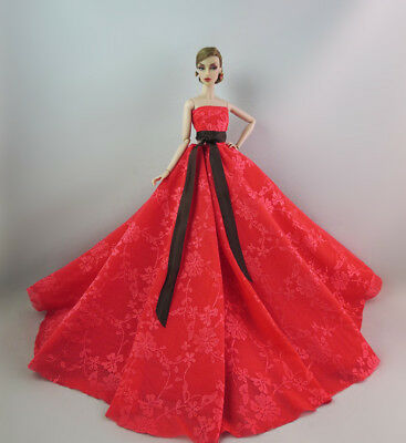 Red Fashion Royalty Princess Dress/Clothes/Gown For Barbie Doll S540
