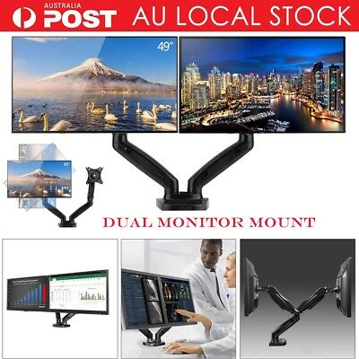 Dual Arm Desktop Monitor Mount Bracket HD LCD Stand Display Screen TV Gas Strut