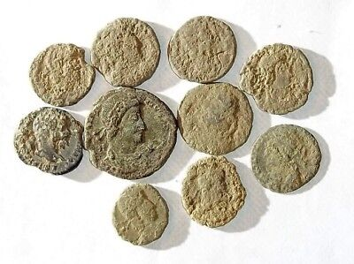 10 ANCIENT ROMAN COINS AE3 - Uncleaned and As Found! - Unique Lot 22909