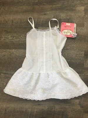 Vintage Girls Slip Inner World Size 6X White Lace Adjustable Straps