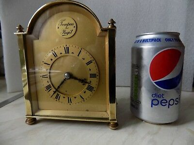 Vintage French Carriage Mantel Clock Solid Brass