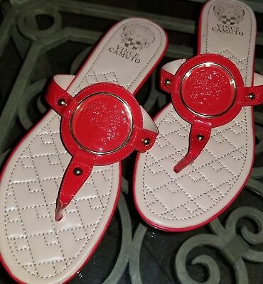 90070e9e6d0a10 New  Vince Camuto RED Braida Leather Logo Thong Quilted Footbed Sandals Sz  10M