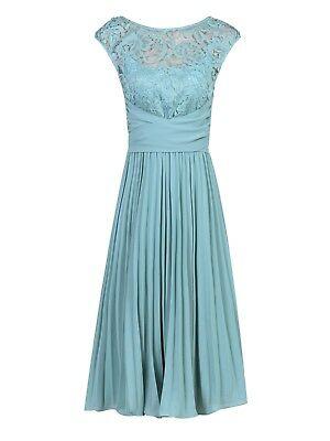 Entenei Blau Spitze Vintage Vall Party Chiffon Brautjungfer Ball Cocktailkkeid