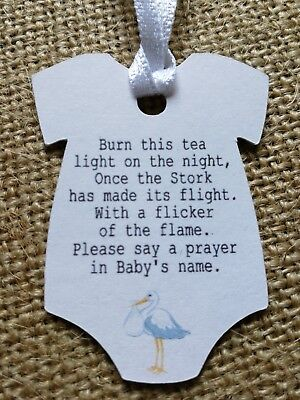 Personalised Baby Shower Tags Stork Tags Candle Favour Tags 25X