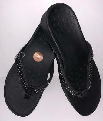 195ab30b42f84d Vionic KEHOE Flip Flops Sandals BLACK size 10 studded wedge shoes NEW W O  tag