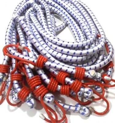 "(12) 72"" Inch (6 Ft.) Heavy Duty Red Hook  Bungee Cord Tie Down Strap 12 Pc."