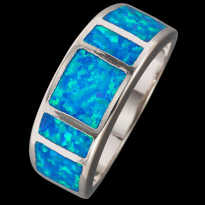 Simple Ocean Blue Fire Opal Inlay Silver Jewelry Band Ring US Size 7 8 9 10