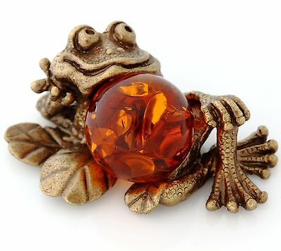 Frog Brass Figurine Russian Baltic Amber Animal Miniature Sculpture 1 1/2""