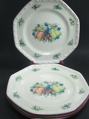 """4- Avon China Sweet Country Harvest Pattern 7 """" Octagon Salad Plates Lot of 4"""
