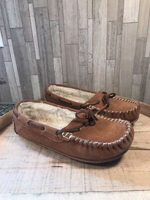 Clarks Moccasin Slippers Womens Sz 8 Tan Suede Slip On Shoes A301213