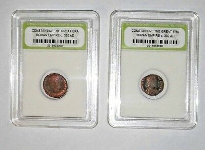 Lot 2-Slabbed Ancient Imperial Roman Constantine the Great Era Coins - c 330 AD