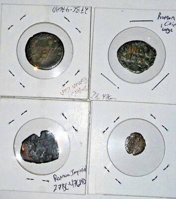 Lot Of 4 Ancient Roman Impirial Coins ( c.27 B.C - 476 A.D )