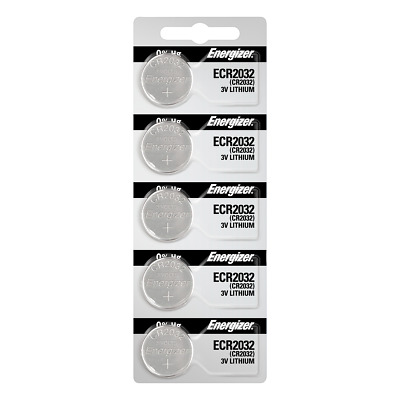 Energizer ECR2032 Lithium (LiMNO2) Coin Cell Batteries 5 Pack Tear Strip