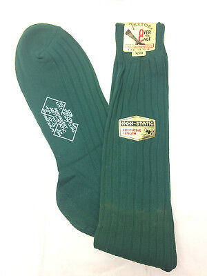 Vintage Men's Dress Socks 100% Nylon Forest Green Stretch Extra Length Textoe