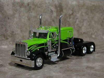 Dcp 1 64 Black Lime Green Peterbilt Semi Truck Farm Toy Flattop