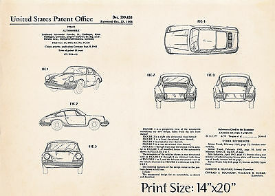 "1964 Porsche Drawing Prints Gift Ideas Us Patent Posters 14""x20"" -Ready To Frame"